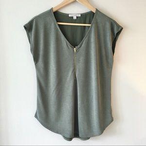 Green Envelope Gold ZIP Olive blouse